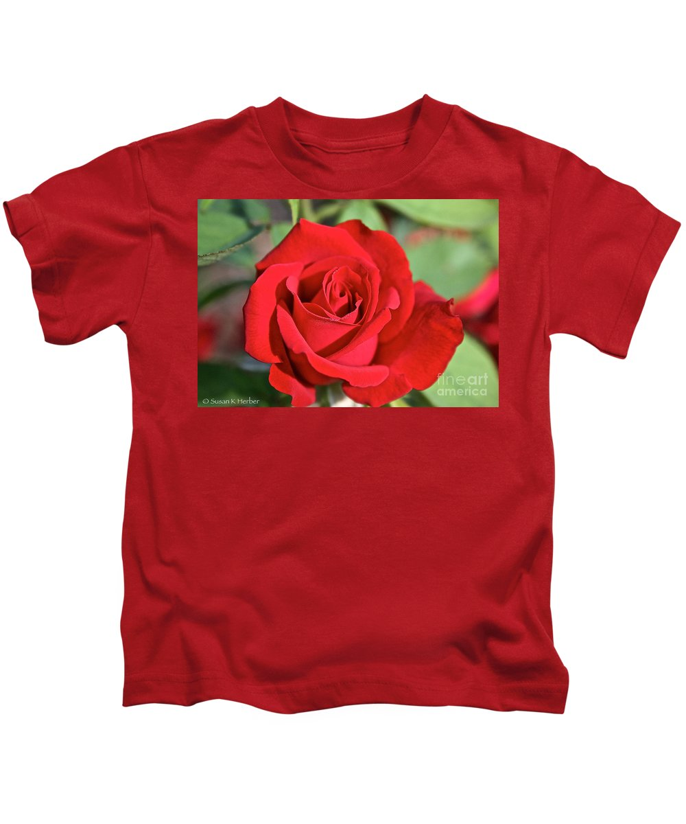 Plant Kids T-Shirt featuring the photograph Red Rose by Susan Herber