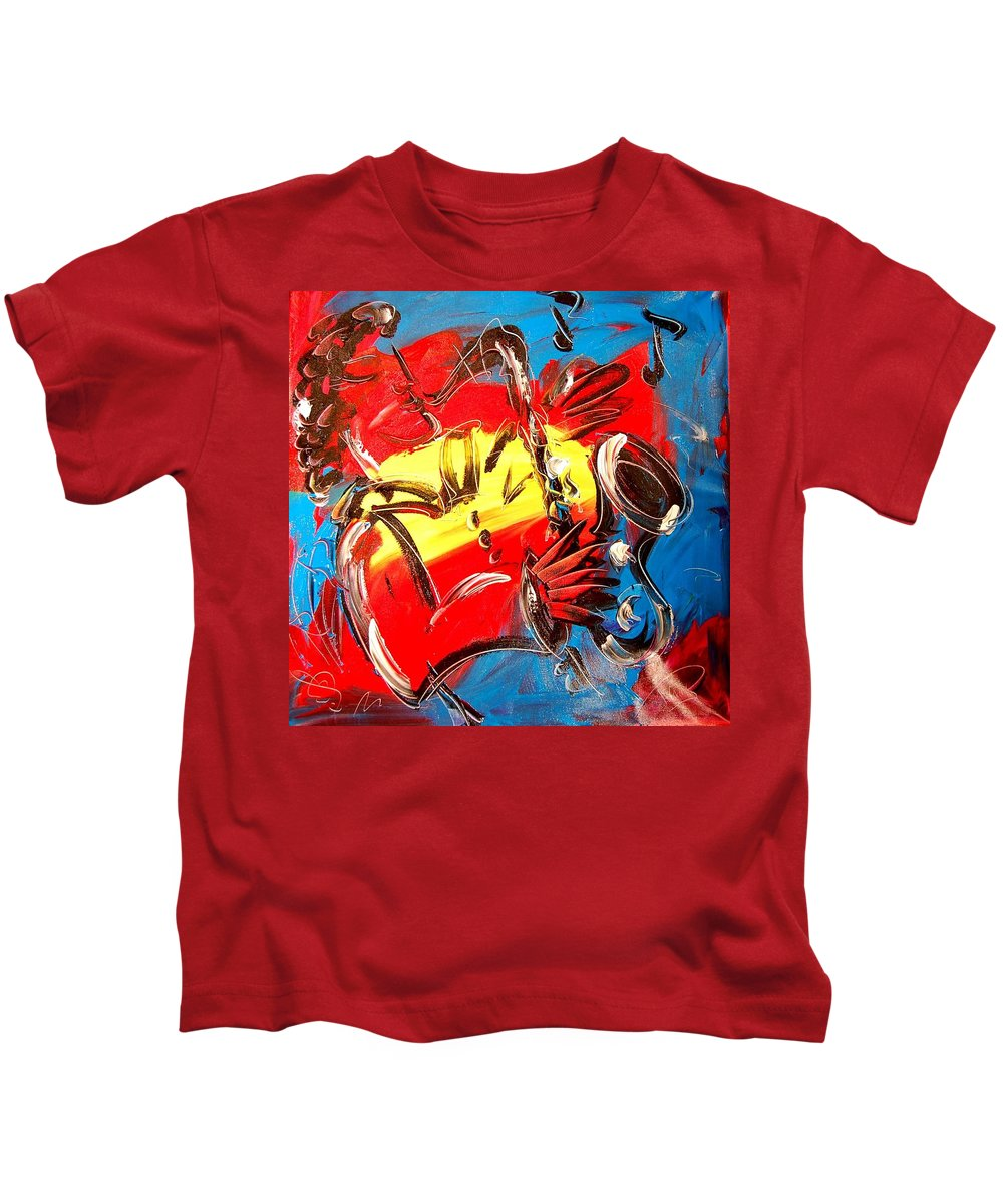 Music Jazz Piano Red Landscape Framed Prints Kids T-Shirt featuring the mixed media Sax Player by Mark Kazav