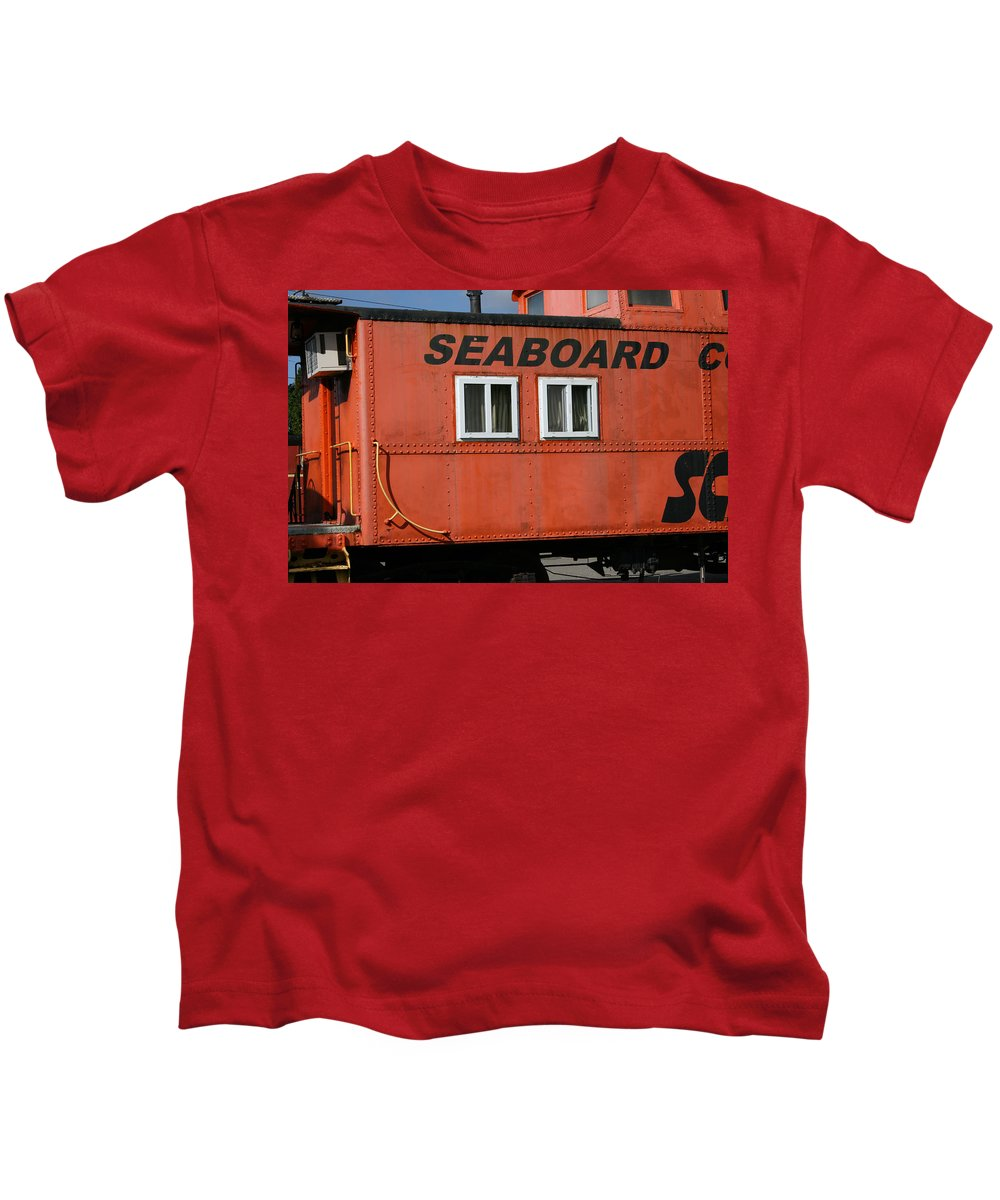 Caboose Kids T-Shirt featuring the photograph Seabord by Tila Gun