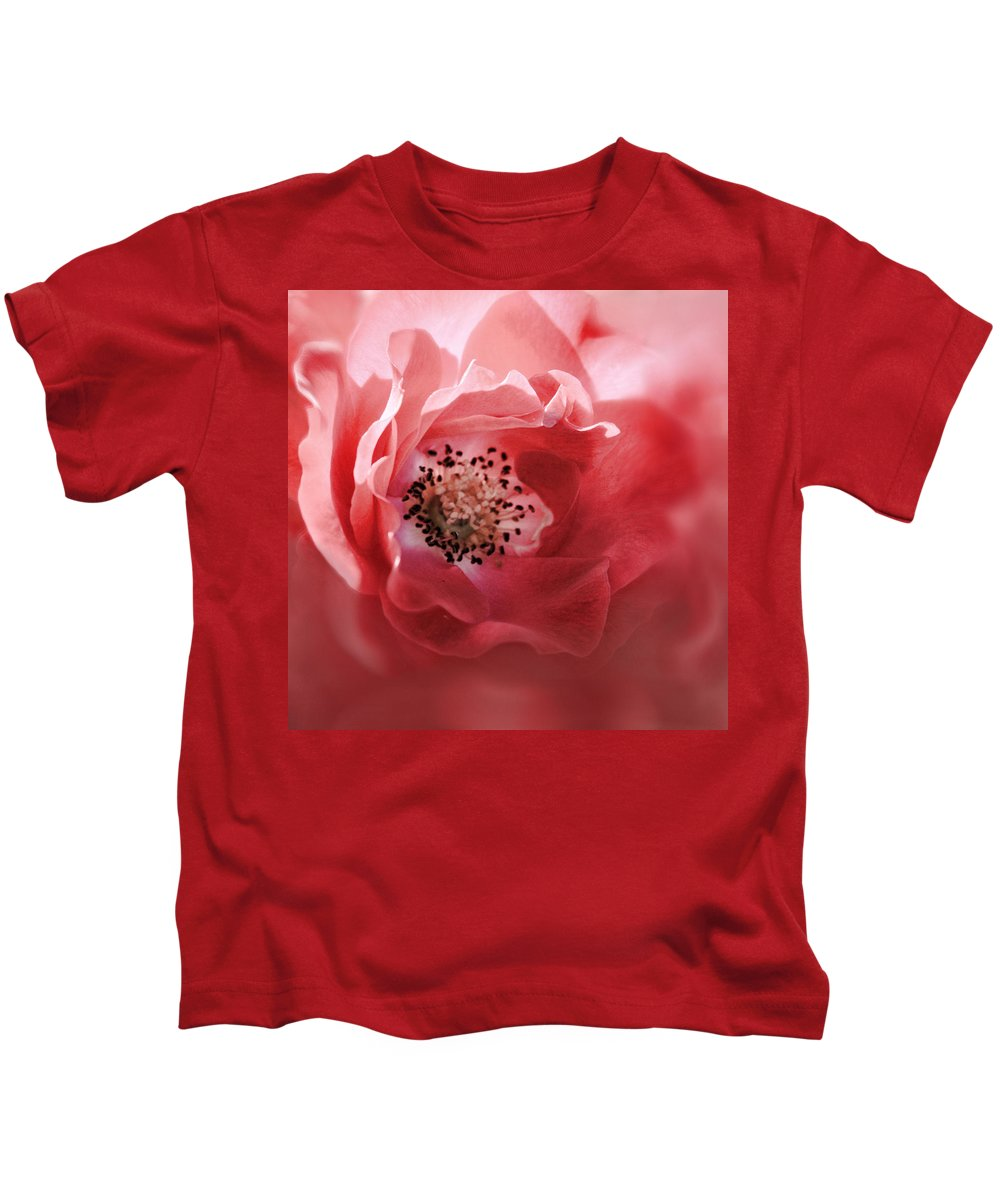 Red Rose Kids T-Shirt featuring the photograph Soft Rose In Square Format by Sally Bauer
