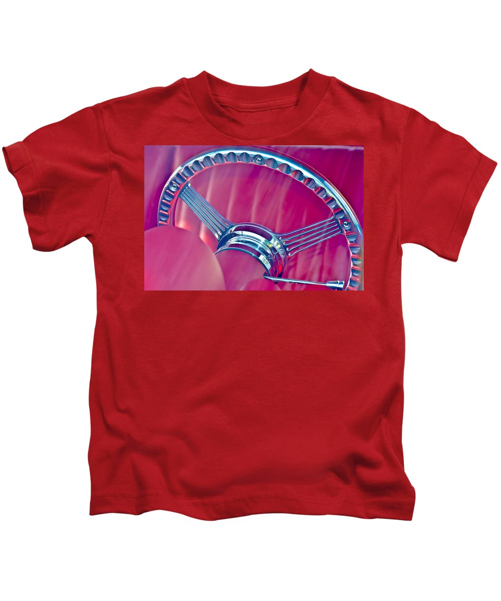 Automobile Kids T-Shirt featuring the photograph Steering Wheel Classic by Carolyn Marshall
