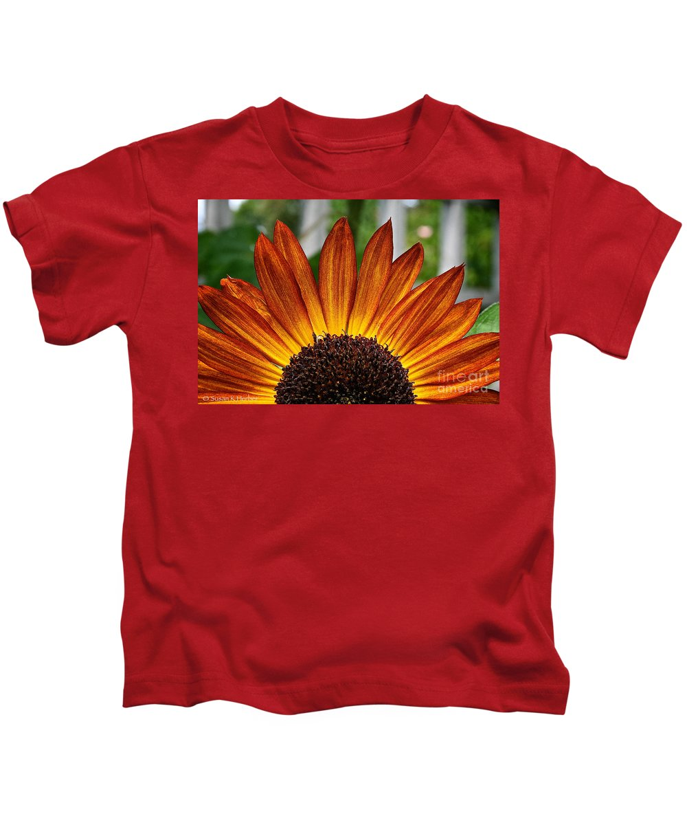 Outdoors Kids T-Shirt featuring the photograph Sunrise Floral by Susan Herber