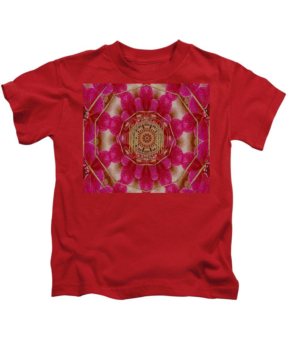 Mandala Kids T-Shirt featuring the mixed media The Golden Orchid Mandala by Pepita Selles