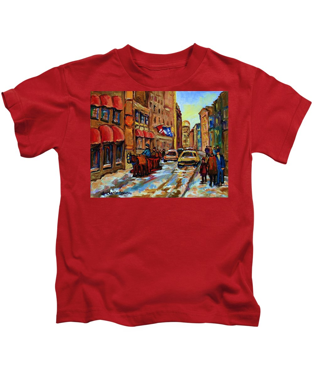 Horses Kids T-Shirt featuring the painting The Red Sled by Carole Spandau