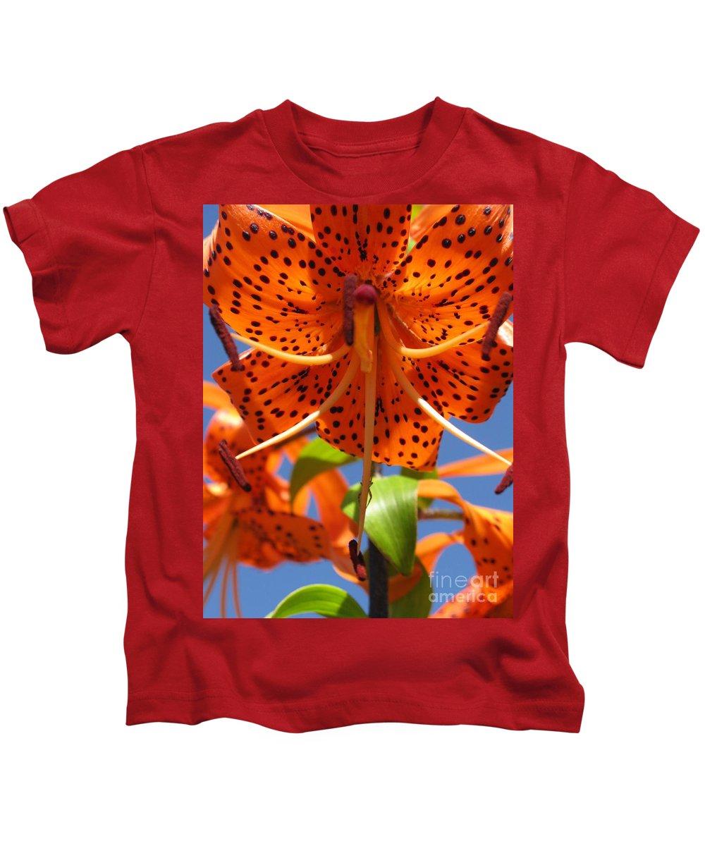 Flower Kids T-Shirt featuring the photograph Tiger Lily Close Up by Ausra Huntington nee Paulauskaite