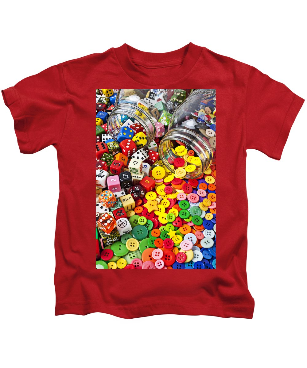 Jar Dice Games Play Numbers Gamble Kids T-Shirt featuring the photograph Two Jars Dice And Buttons by Garry Gay
