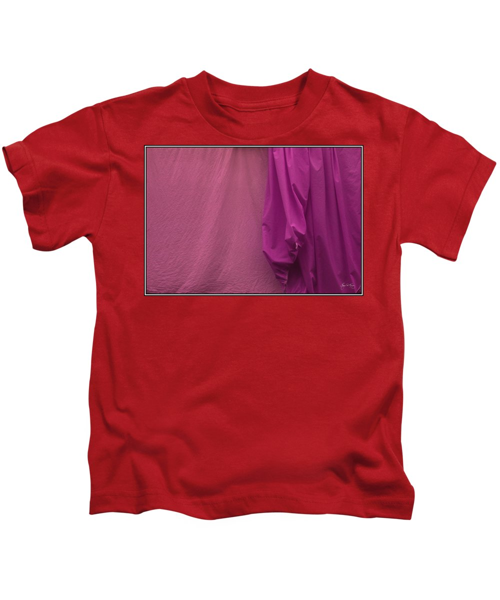 Sheets Kids T-Shirt featuring the photograph Two Sheets Peach And Fuscia by Wayne King