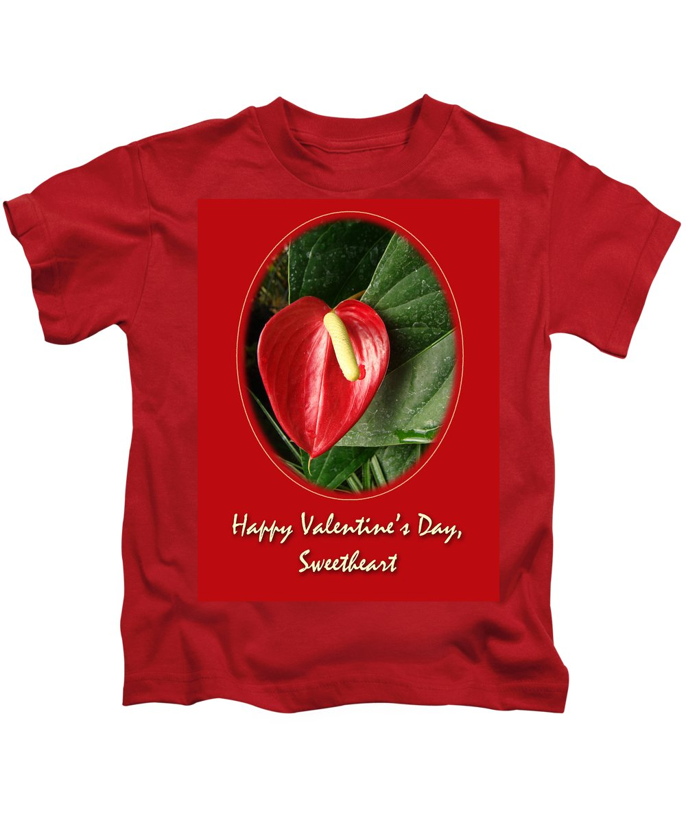 Valentine Kids T-Shirt featuring the photograph Valentine's Day Red Anthurium by Mother Nature