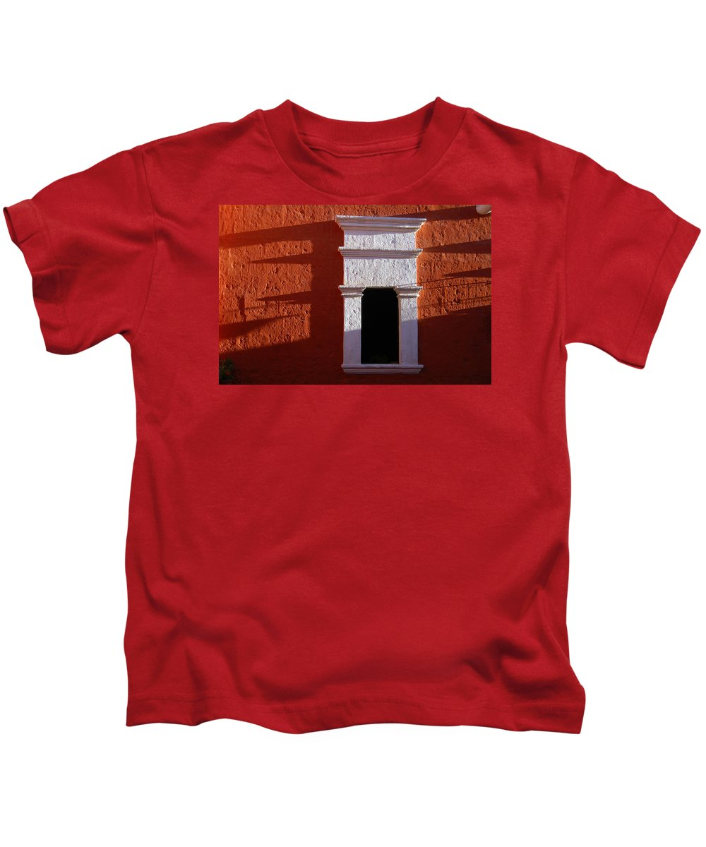 Monastery Kids T-Shirt featuring the photograph White Window by RicardMN Photography