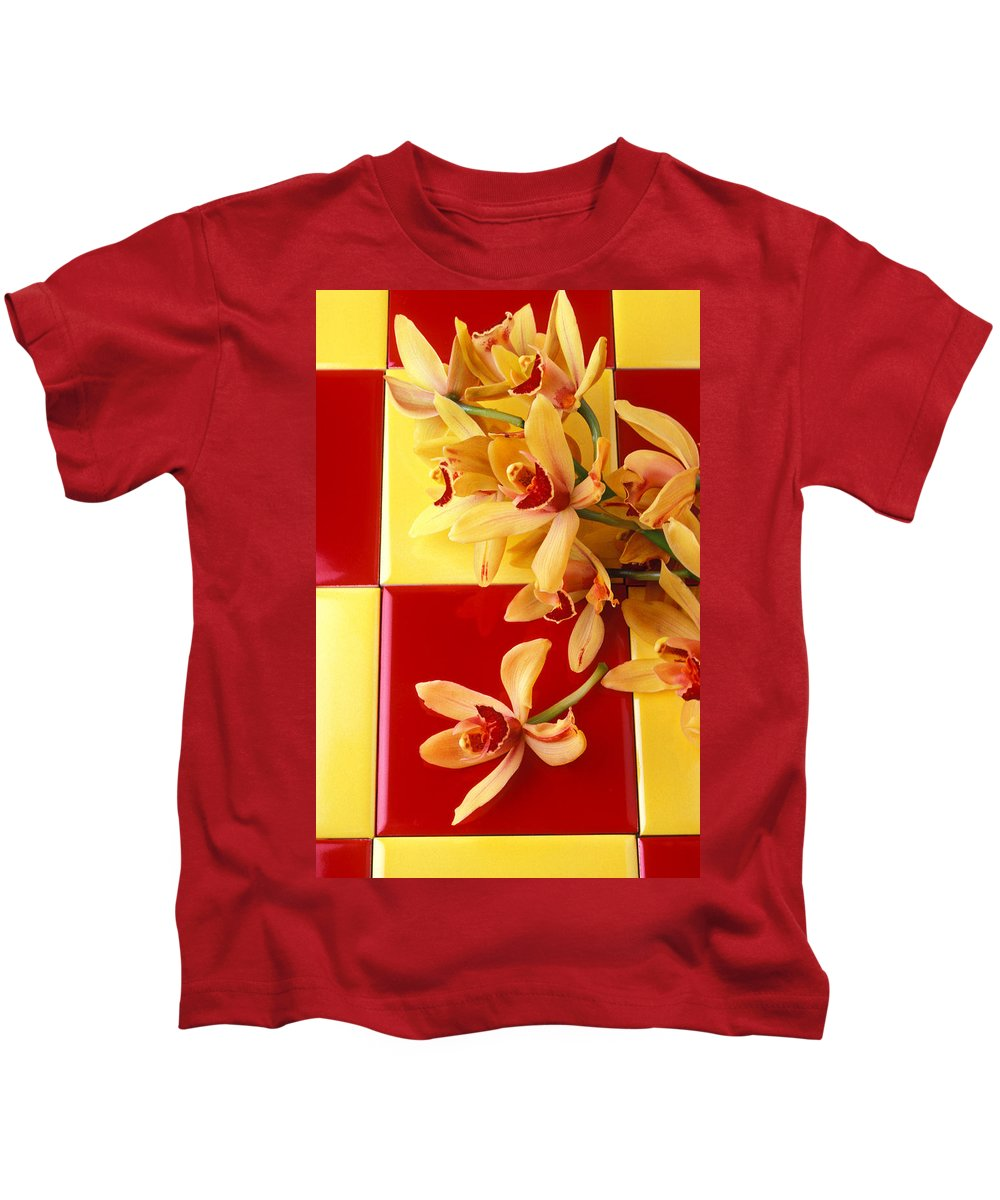 Yellow Red Orchids Kids T-Shirt featuring the photograph Yellow And Red Orchids by Garry Gay