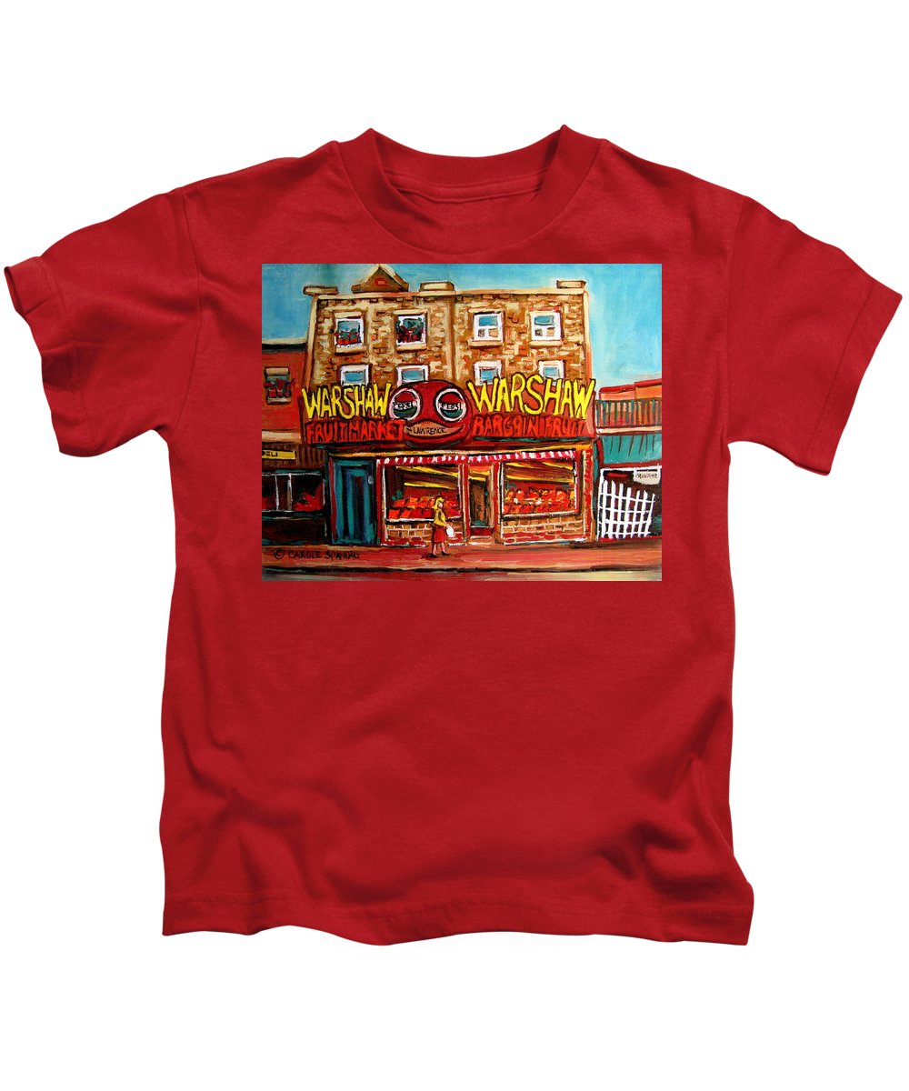 Warshaws Fruitmarket Kids T-Shirt featuring the painting Fifties Fruitstore by Carole Spandau