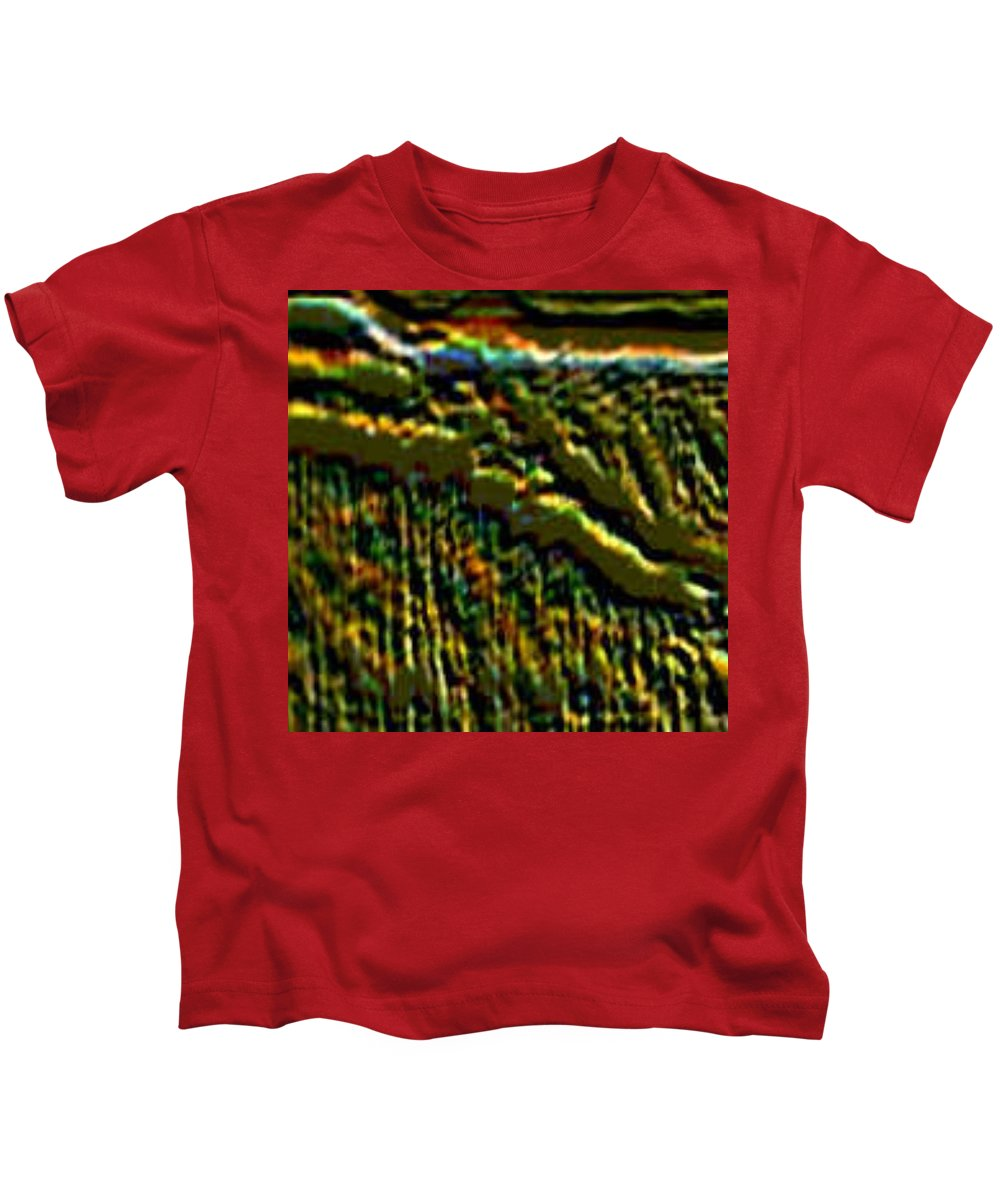 Canyons Kids T-Shirt featuring the digital art South Rim- N -green Grandeur by Brenda L Spencer