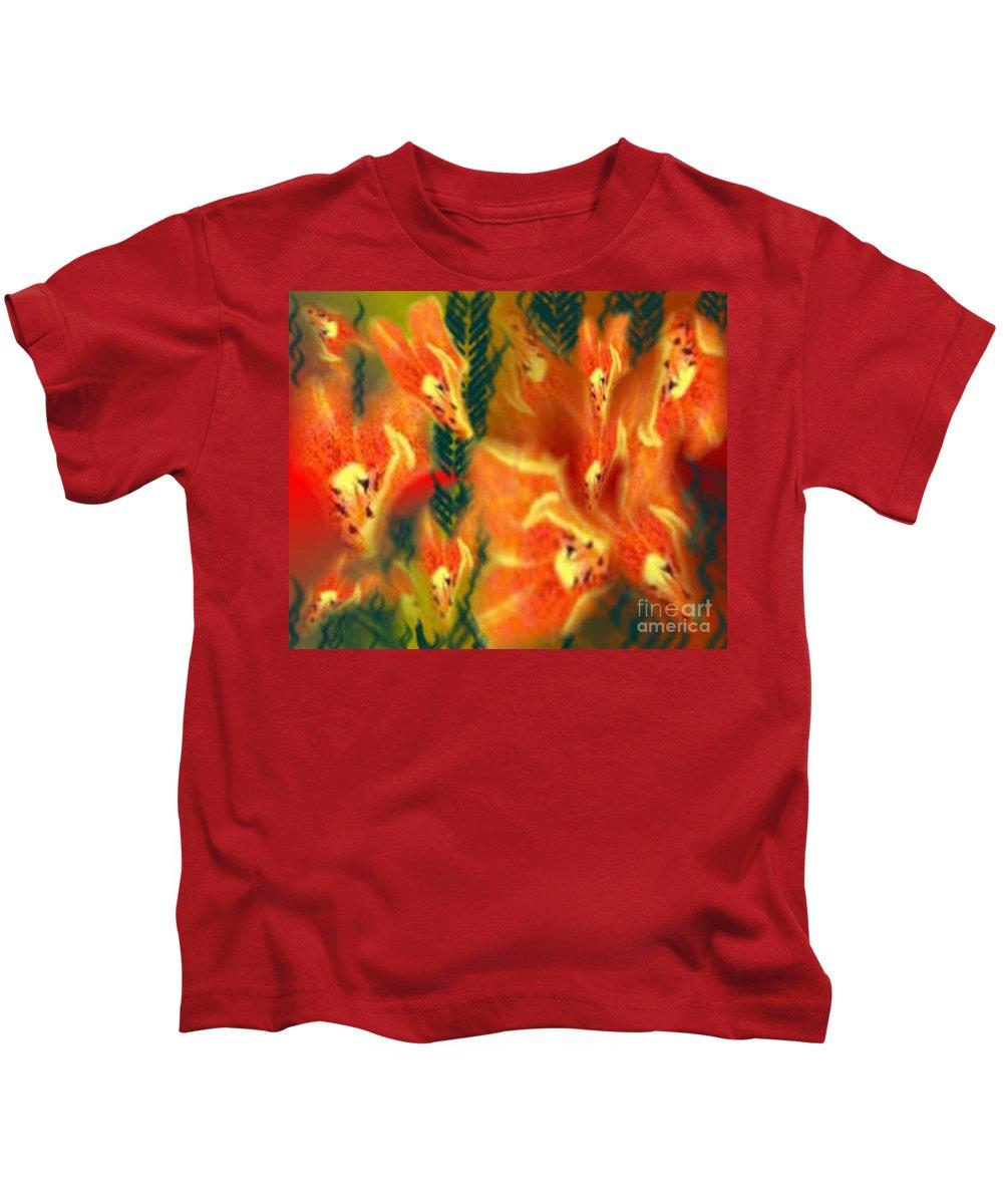 Florals Kids T-Shirt featuring the digital art Symphonic Dance by Brenda L Spencer