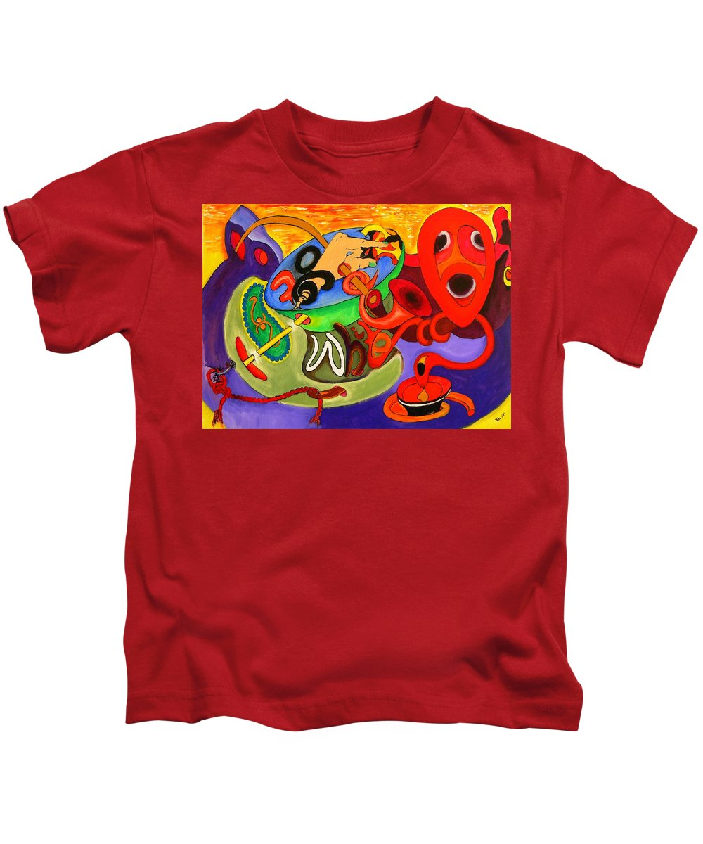 Time Kids T-Shirt featuring the painting Time Constraints by Helmut Rottler