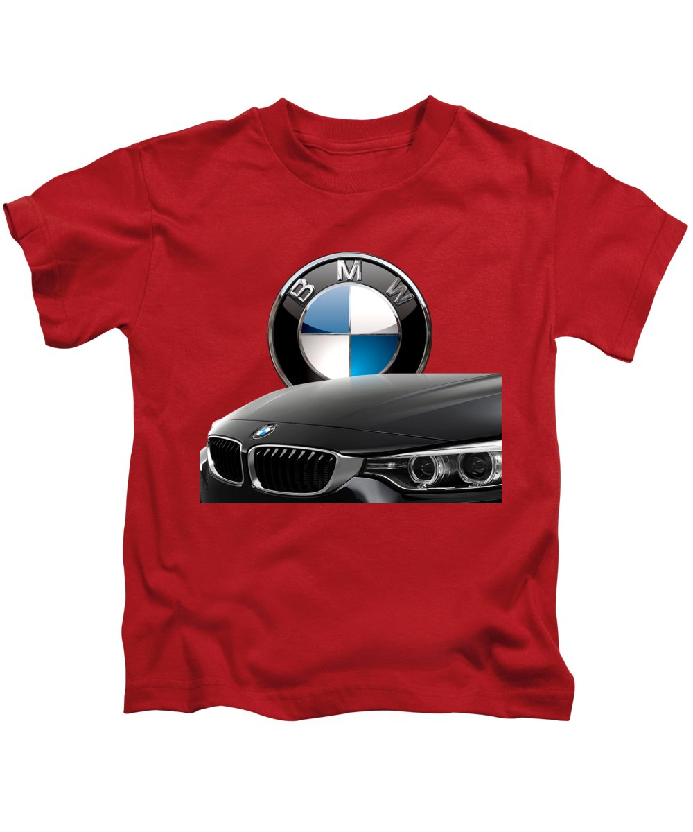 �auto Badges� Collection By Serge Averbukh Kids T-Shirt featuring the photograph Black B M W - Front Grill Ornament and 3 D Badge on Red by Serge Averbukh