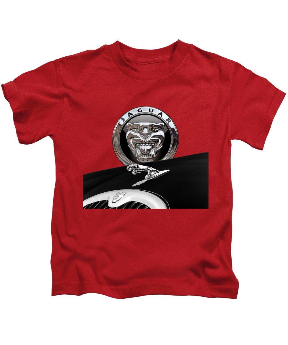 'auto Badges' Collection By Serge Averbukh Kids T-Shirt featuring the photograph Black Jaguar - Hood Ornaments And 3 D Badge On Red by Serge Averbukh