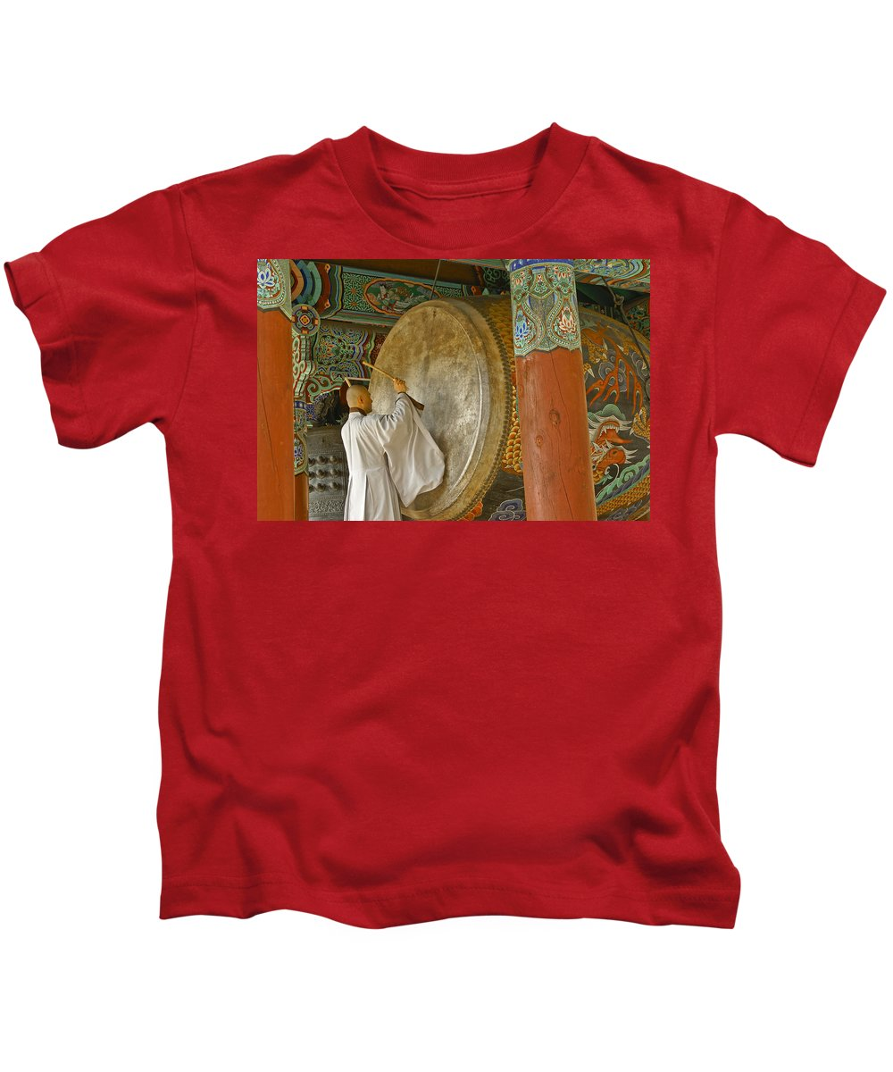 Asia Kids T-Shirt featuring the photograph Buddhist Monk Drumming by Michele Burgess