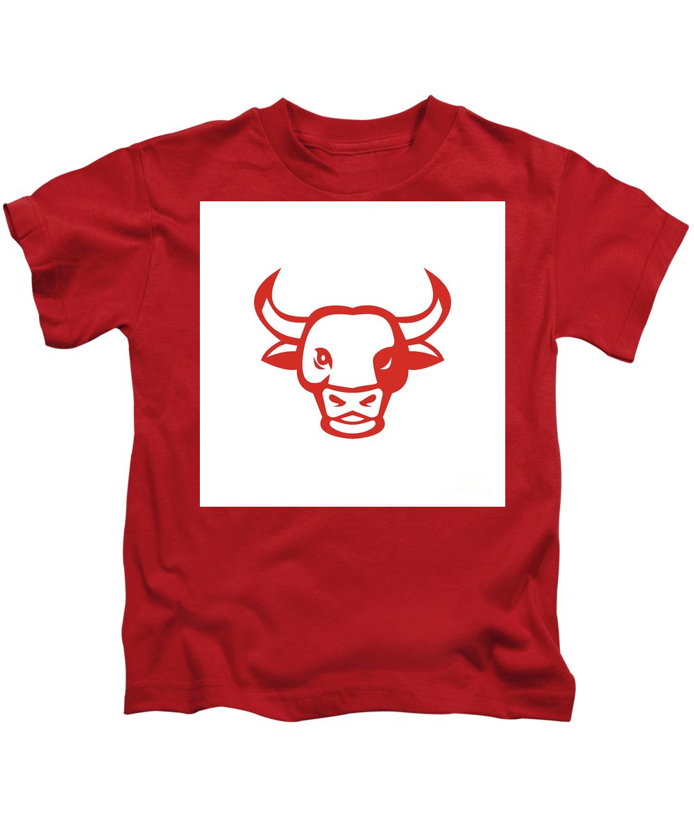 Bull Kids T-Shirt featuring the digital art Bull Cow Head Smiling Isolated Retro by Aloysius Patrimonio