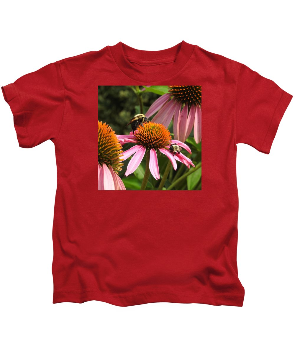 Ann Keisling Kids T-Shirt featuring the photograph Busy Bees by Ann Keisling