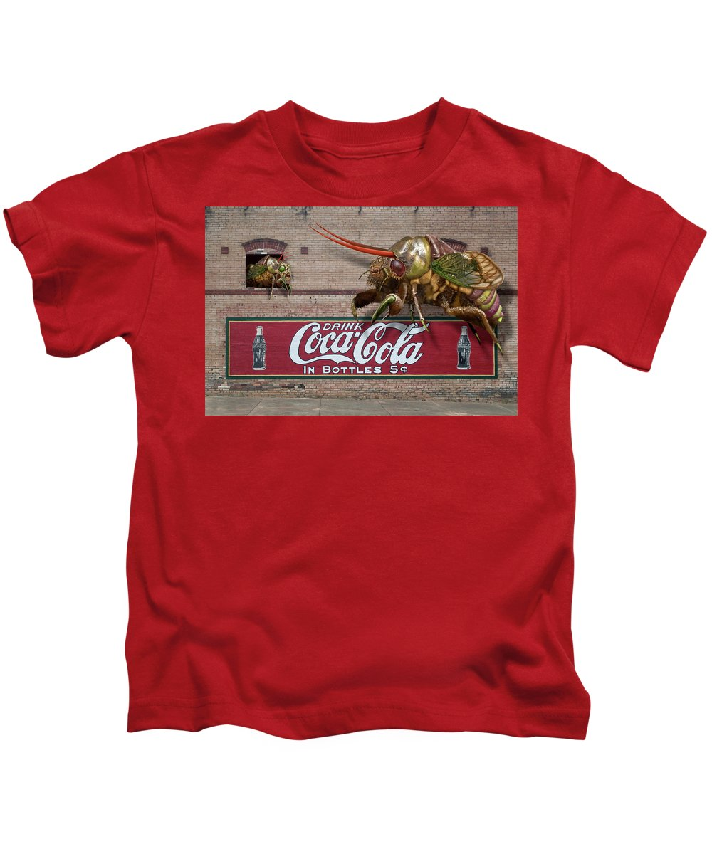 Cicada Turf War Bug Kids T-Shirt featuring the digital art Cicada Turf War by Bob Sanford