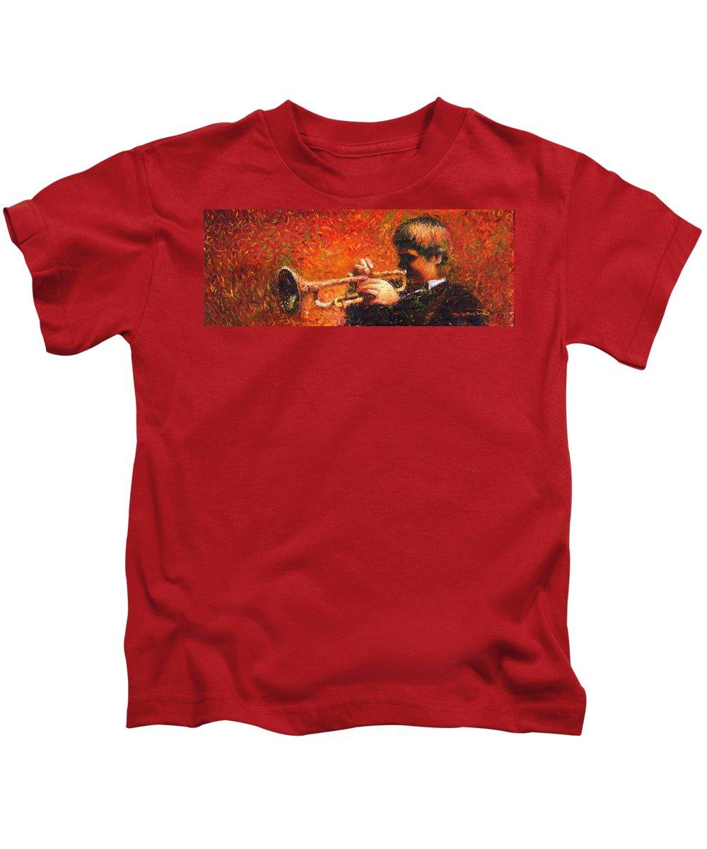 Jazz Kids T-Shirt featuring the painting Jazz Trumpeter by Yuriy Shevchuk