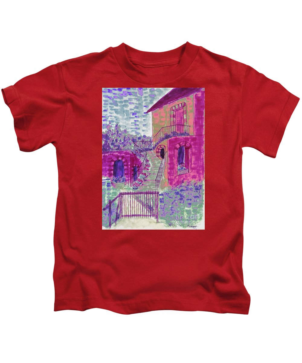 Abstract House Kids T-Shirt featuring the painting Let Them Eat Grape Cake by Jayne Somogy