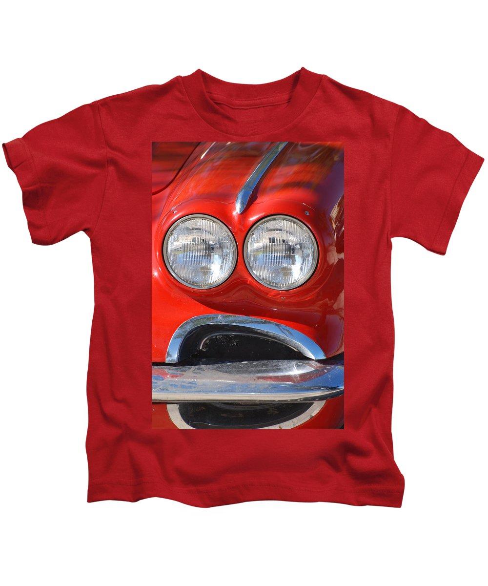 Corvette Kids T-Shirt featuring the photograph Little Red Corvette by Rob Hans