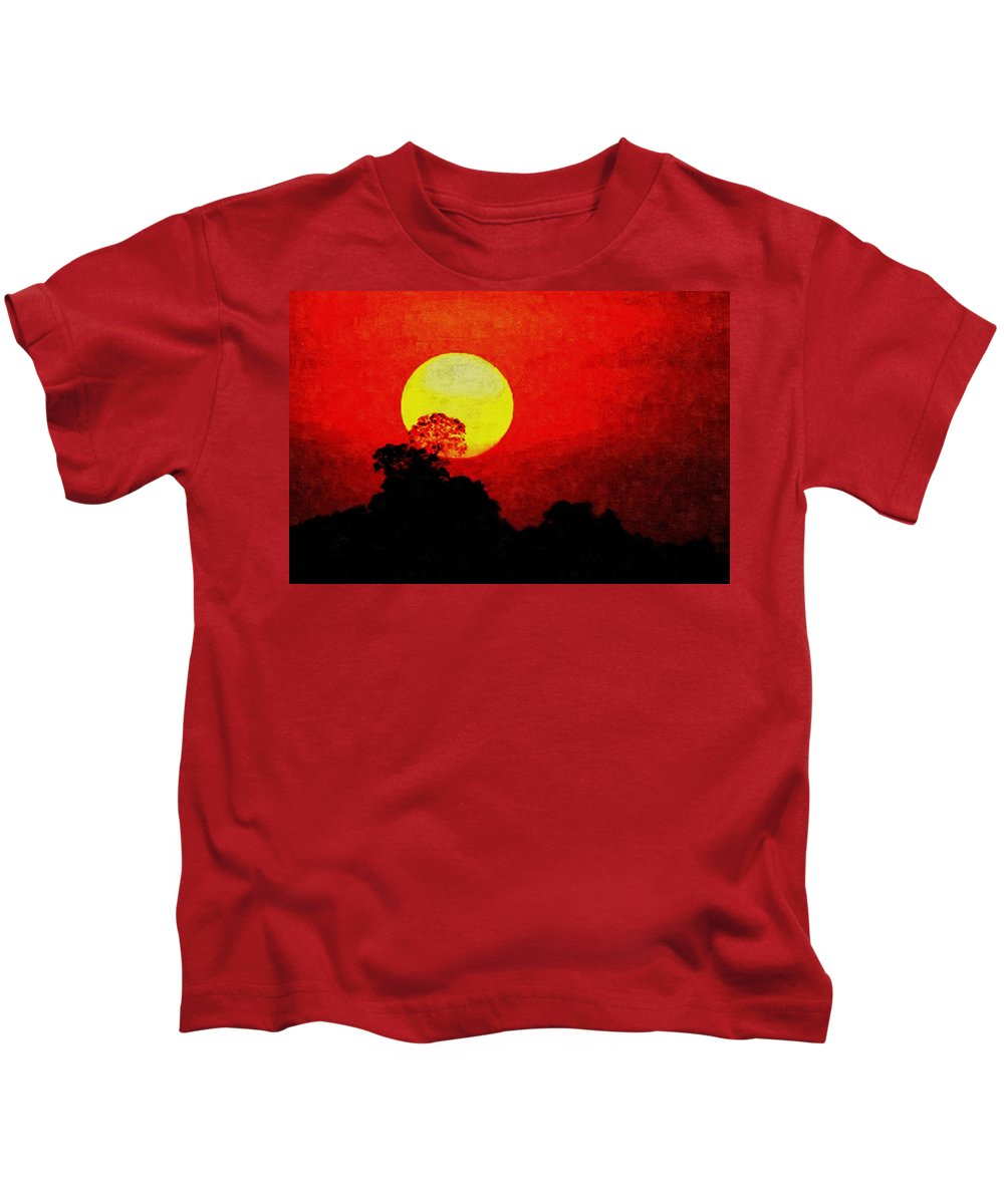 Announcement Kids T-Shirt featuring the painting Mystic Sunset H A by Gert J Rheeders