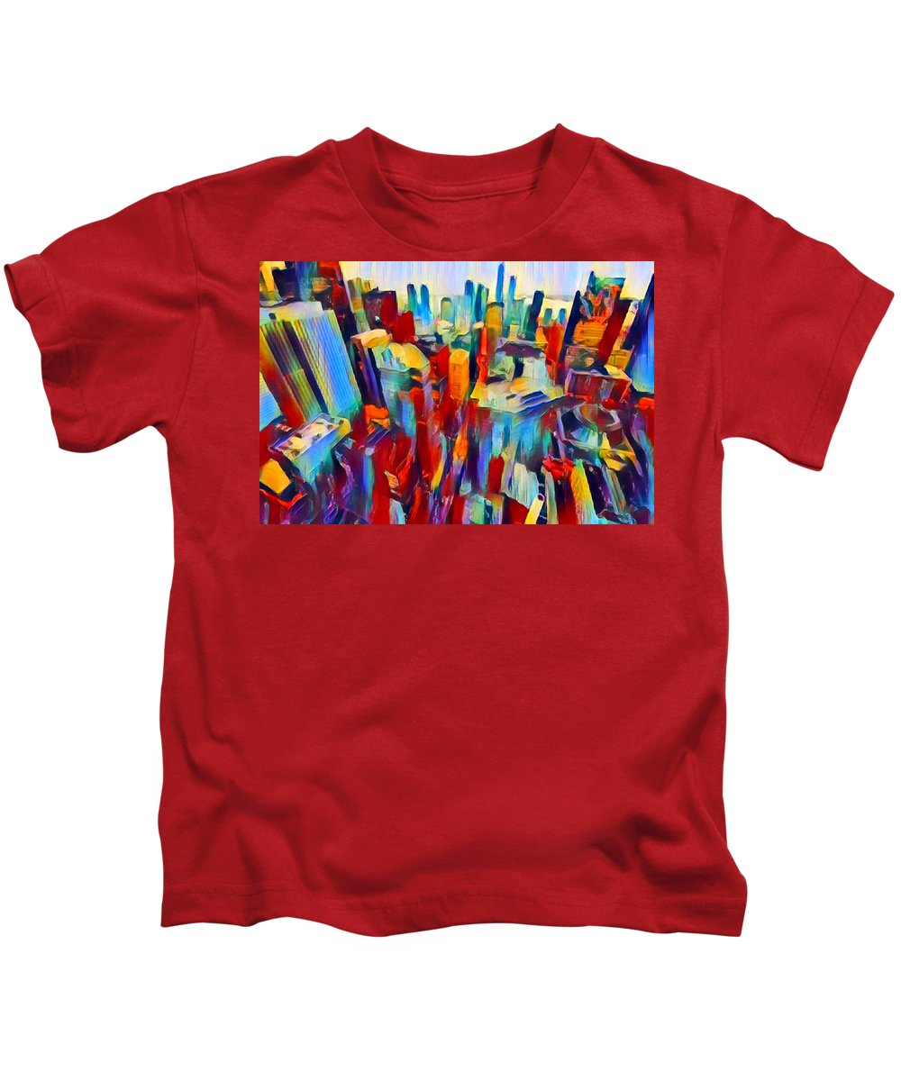Nyc Kids T-Shirt featuring the painting Nyc View by Chris Butler