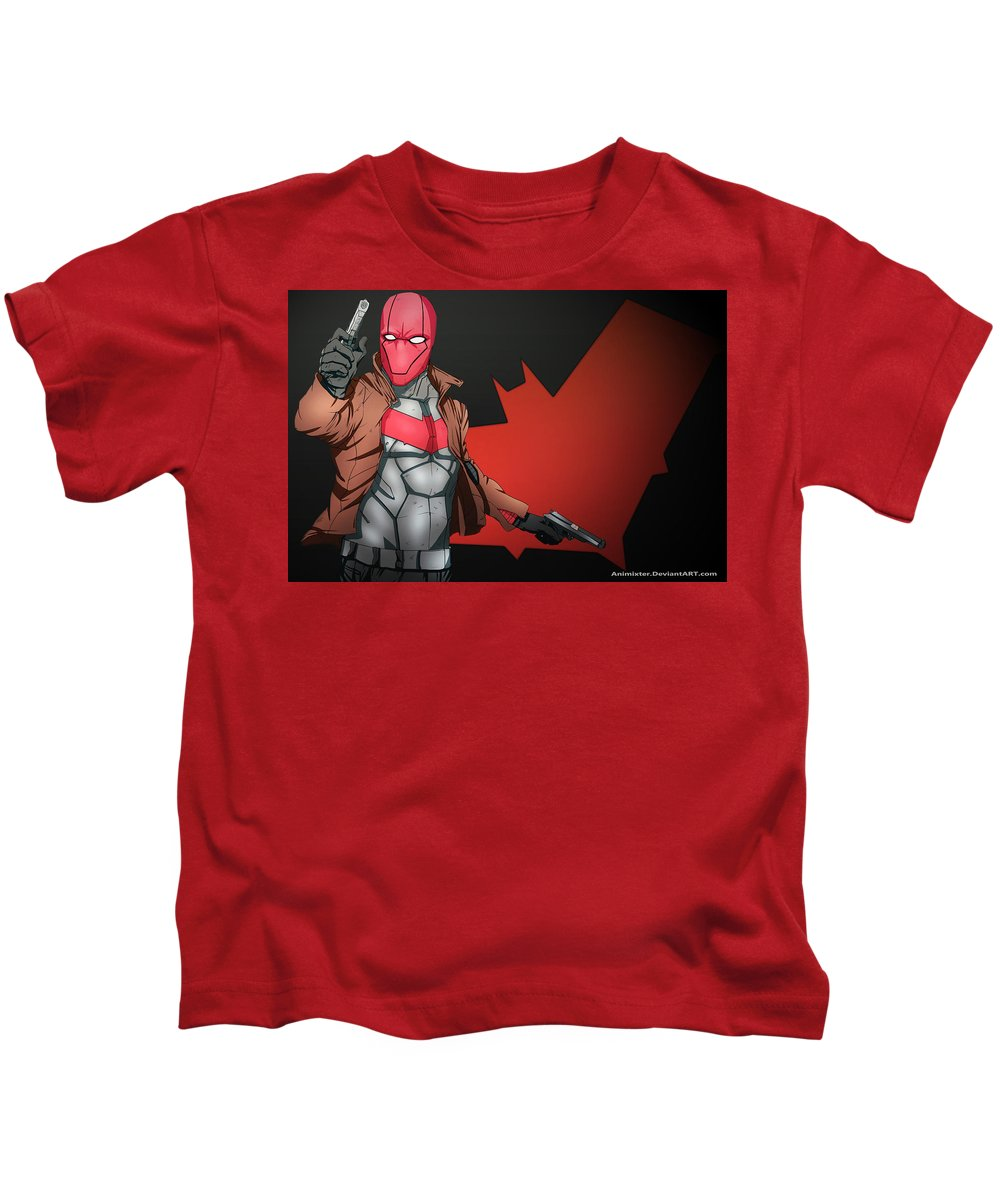 Red Hood Kids T-Shirt featuring the digital art Red Hood by Dorothy Binder
