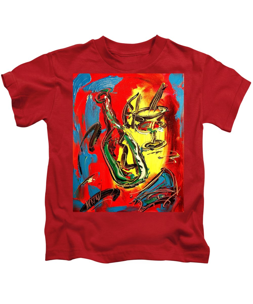 Red Wine Landscape Kids T-Shirt featuring the painting Red Wine by Mark Kazav