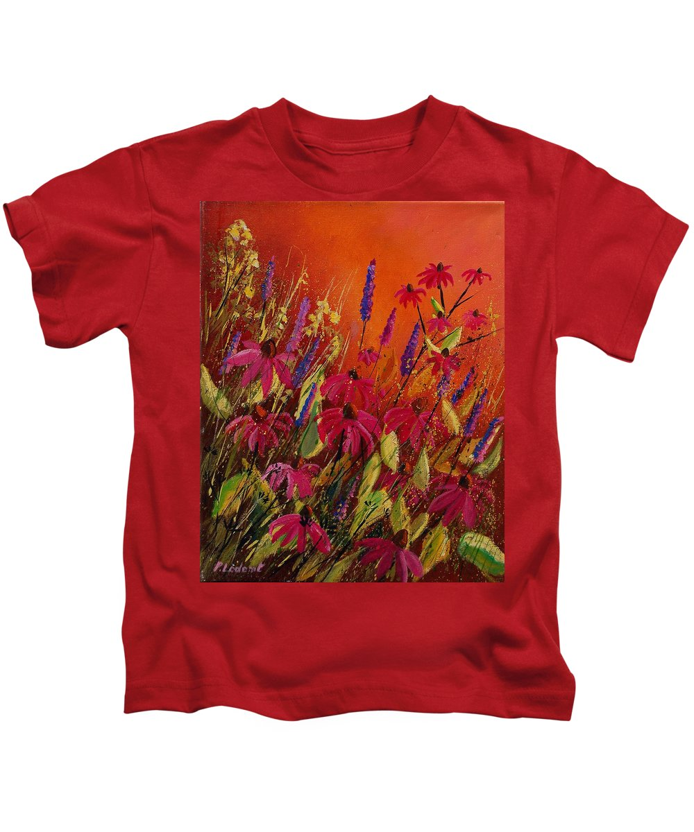 Flowers Kids T-Shirt featuring the painting Rudbeckias And Lyatris by Pol Ledent