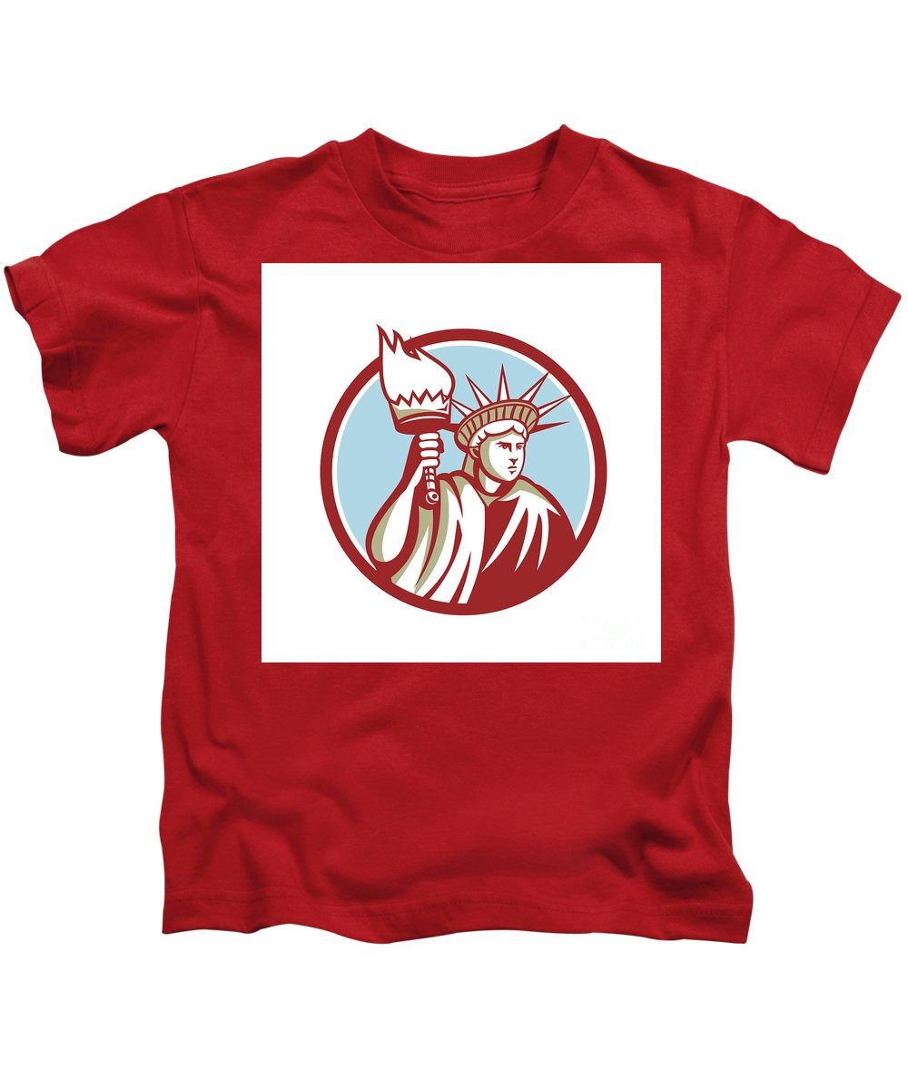 Statue Of Liberty Kids T-Shirt featuring the digital art Statue Of Liberty Holding Flaming Torch Circle Retro by Aloysius Patrimonio