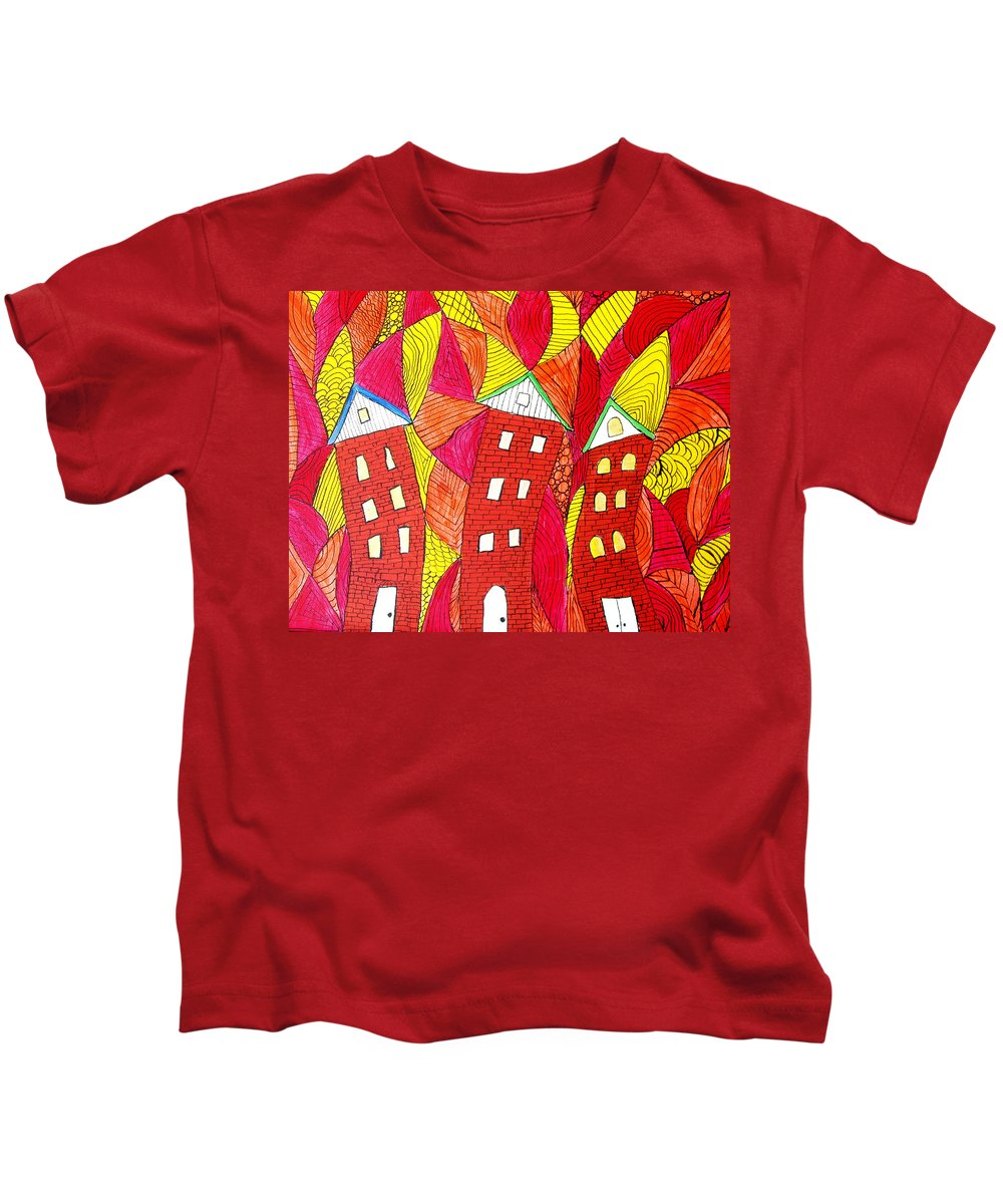 Houses Kids T-Shirt featuring the painting Summer In The City by Wayne Potrafka