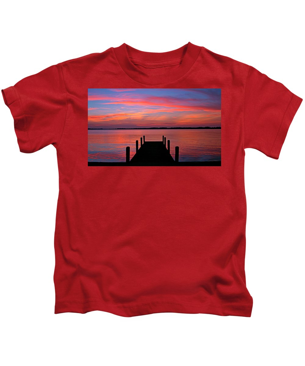 Dock Kids T-Shirt featuring the photograph Sunset Dock by Scott Mahon