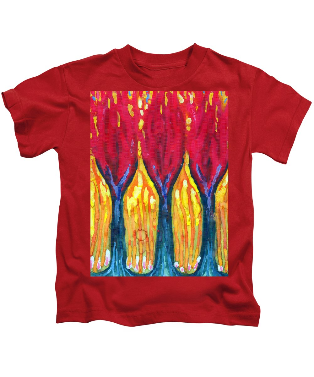 Colour Kids T-Shirt featuring the painting Three Matches by Wojtek Kowalski