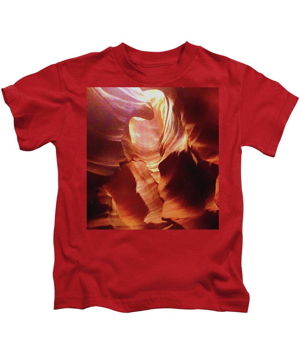 Canyon Kids T-Shirt featuring the photograph Upper Antelope Canyon by Barbara Zahno