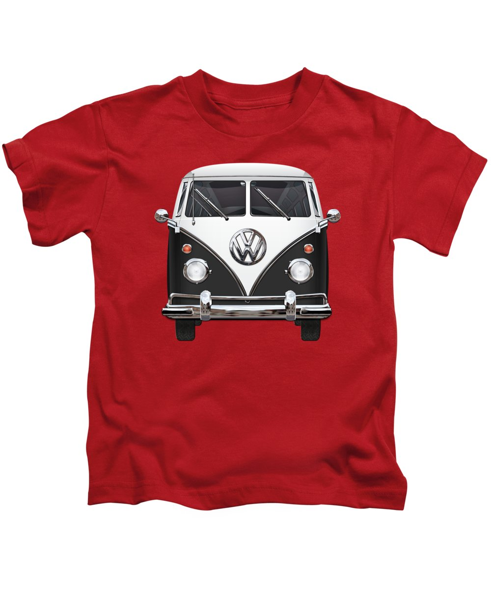 'volkswagen Type 2' Collection By Serge Averbukh Kids T-Shirt featuring the photograph Volkswagen Type 2 - Black and White Volkswagen T 1 Samba Bus on Red by Serge Averbukh