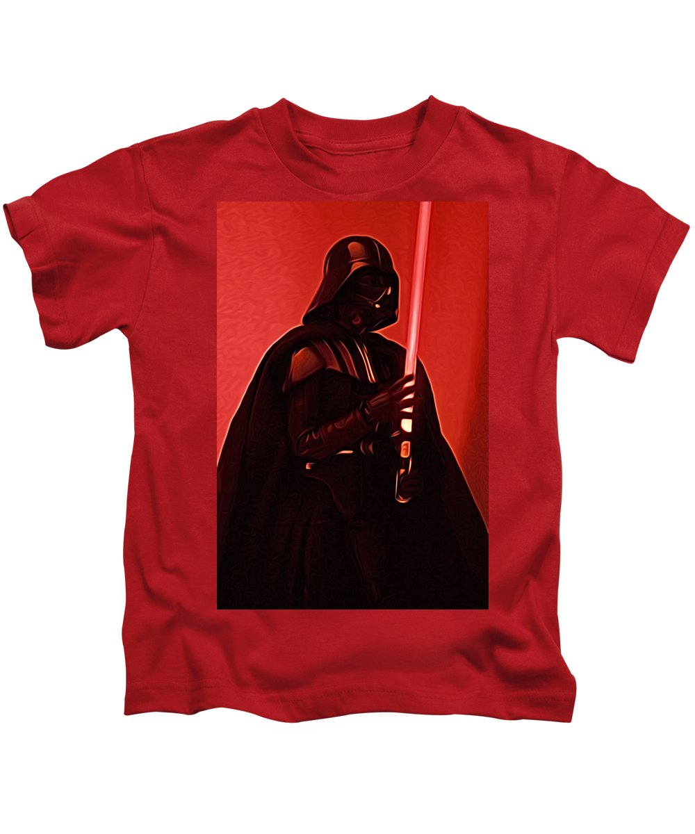 Star Wars Kids T-Shirt featuring the digital art Star Wars Heroes Art by Larry Jones