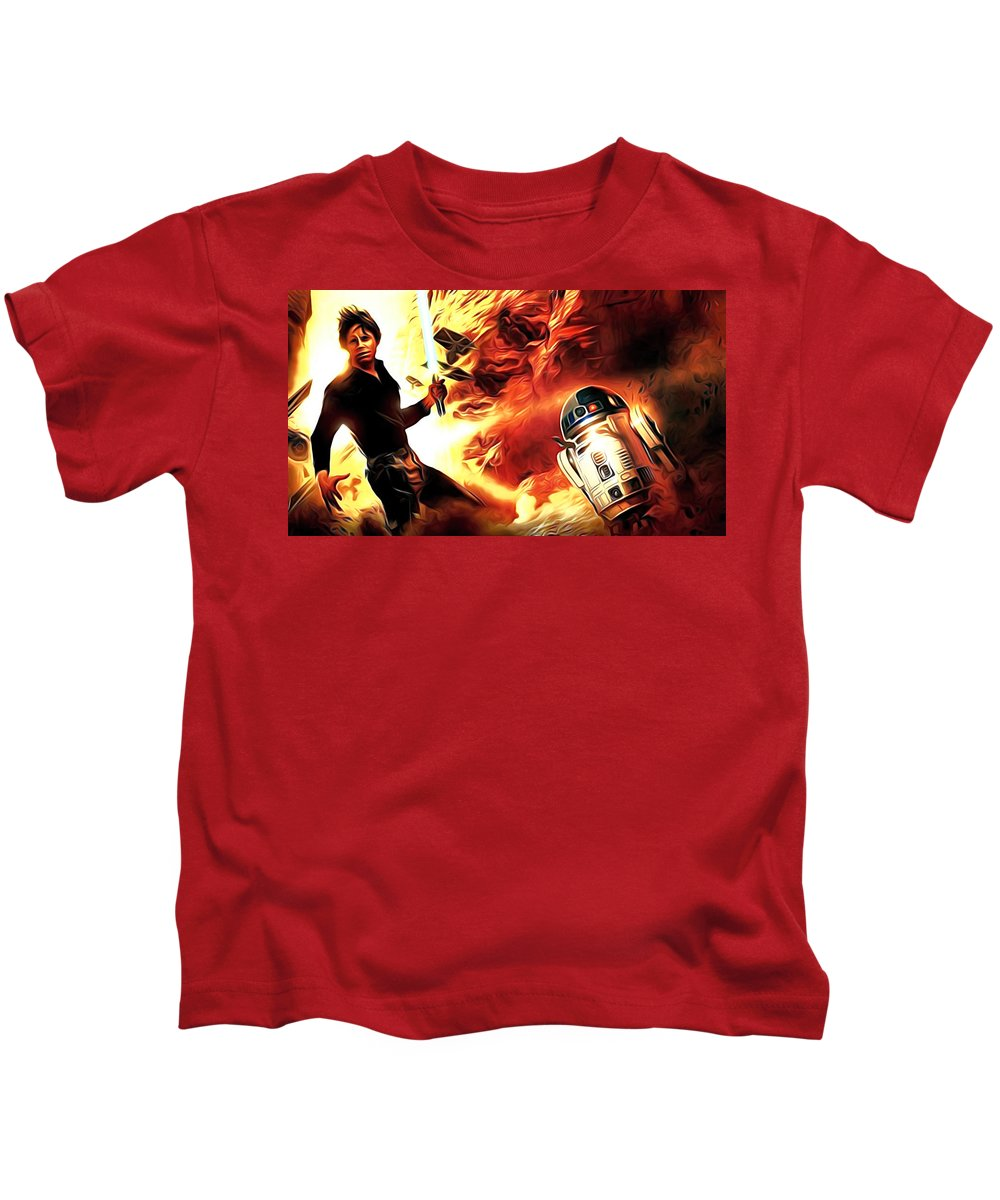 Star Wars Kids T-Shirt featuring the digital art Star Wars Heroes Poster by Larry Jones