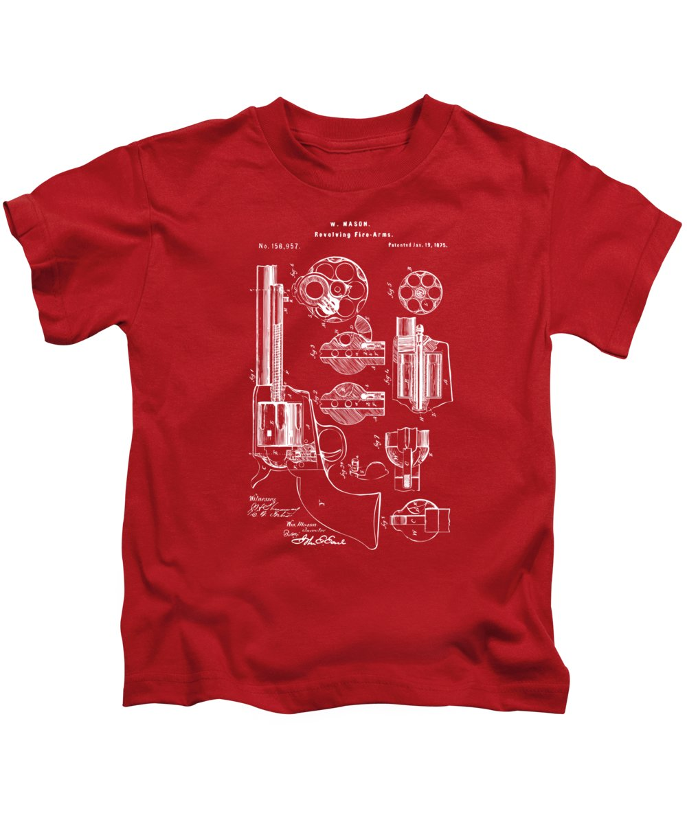 Colt 45 Kids T-Shirt featuring the digital art 1875 Colt Peacemaker Revolver Patent Red by Nikki Marie Smith