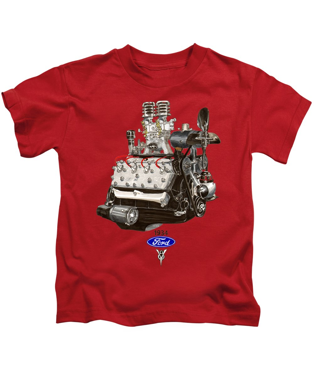 Flathead Ford V 8 Kids T-Shirt featuring the painting 1934 Ford Flathead V 8 Tee Shirt by Jack Pumphrey