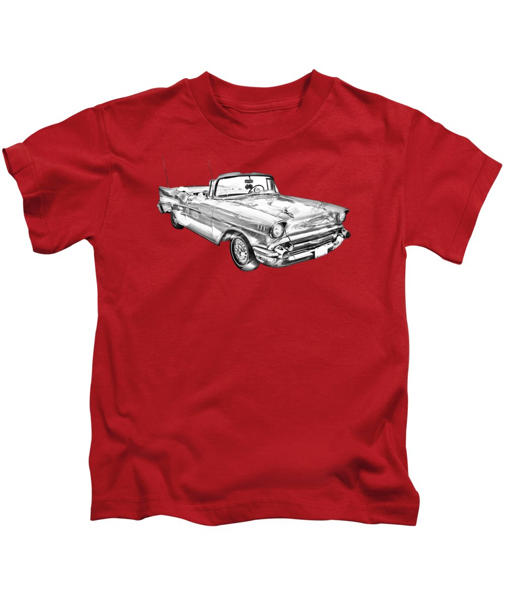 Automobile Kids T-Shirt featuring the photograph 1957 Chevrolet Bel Air Convertible Illustration by Keith Webber Jr