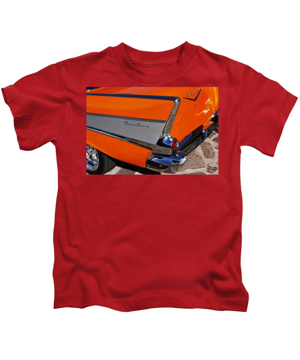 Car Kids T-Shirt featuring the photograph 1957 Chevrolet Belair Coupe Tail Fin by Jill Reger