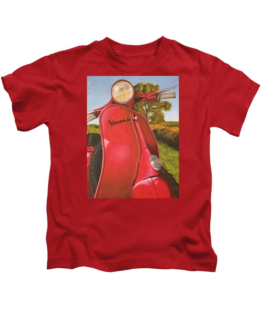 Scooter Kids T-Shirt featuring the painting 1963 Vespa 50 by Rob De Vries