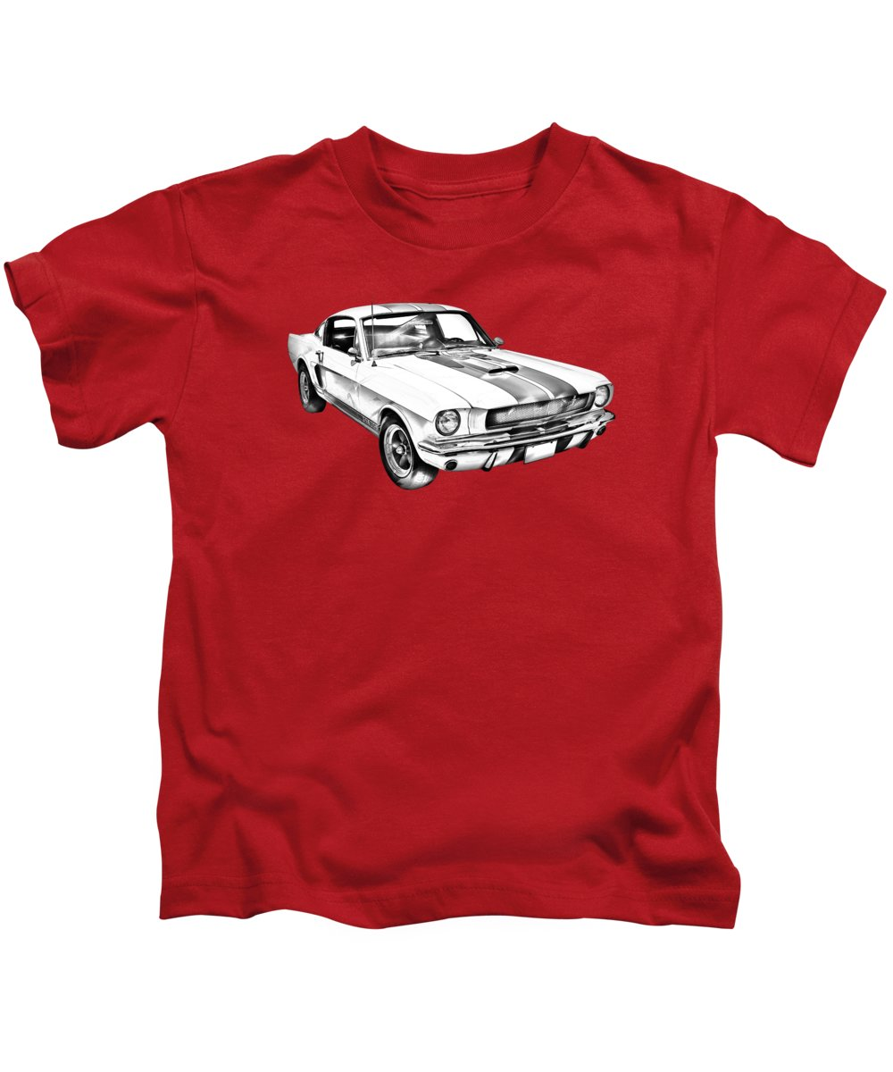 Car Kids T-Shirt featuring the photograph 1965 Gt350 Mustang Muscle Car Illustration by Keith Webber Jr