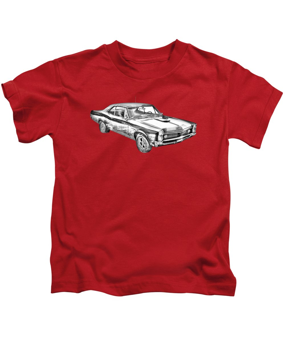 Car Kids T-Shirt featuring the photograph 1967 Pontiac Gto Muscle Car Illustration by Keith Webber Jr