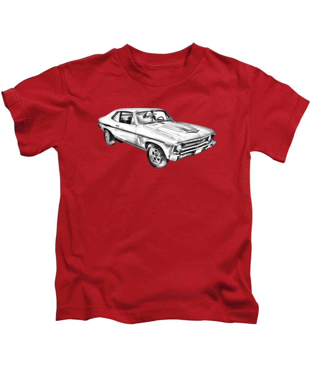 Antique Kids T-Shirt featuring the photograph 1969 Chevrolet Nova Yenko 427 Muscle Car Illustration by Keith Webber Jr