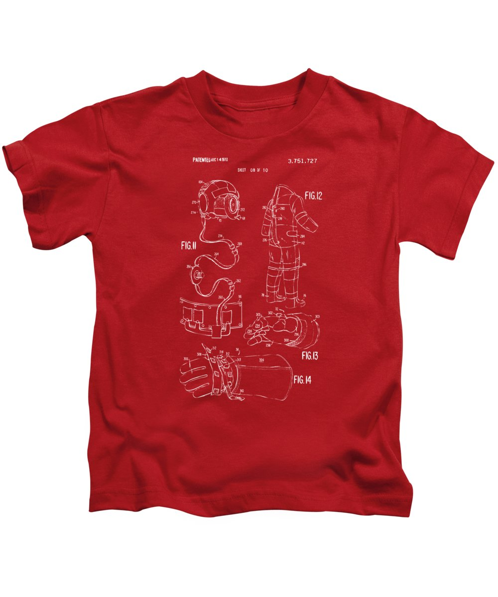 Space Suit Kids T-Shirt featuring the digital art 1973 Space Suit Elements Patent Artwork - Red by Nikki Marie Smith