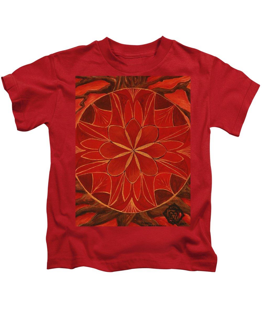 Mandala Kids T-Shirt featuring the painting 1st Mandala - Root Chakra by Jennifer Christenson